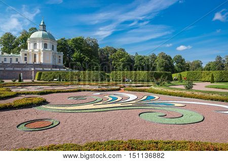 SAINT- PETERSBURG, RUSSIA - September 06, 2015: Oranienbaum is a Russian royal residence located on the Gulf of Finland west of Saint Petersburg. The Palace ensemble are UNESCO World Heritage Sites