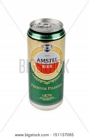 PULA, CROATIA - OCTOBER 3, 2016: Amstel Premium Pilsener is an internationally known brand of beer produced by Heineken International in Zoeterwoude Netherlands.