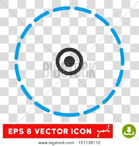 Vector Round Area EPS vector pictograph. Illustration style is flat iconic bicolor blue and gray symbol on a transparent background.