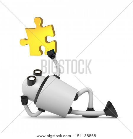 Robot with puzzle