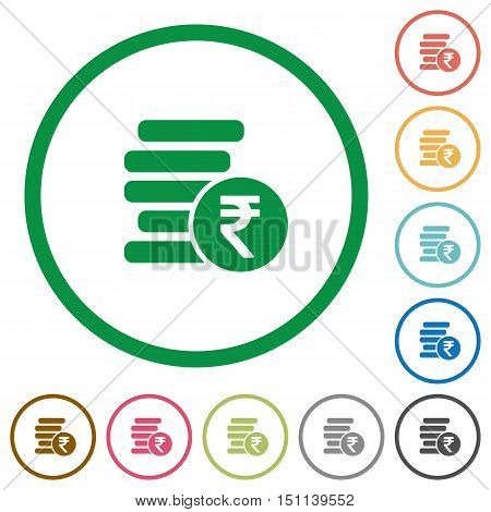 Set of indian Rupee coins color round outlined flat icons on white background