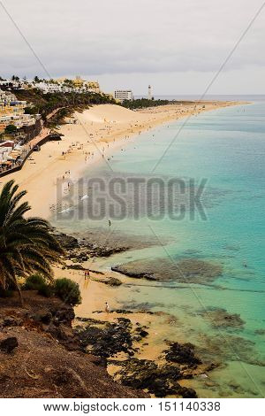View on the beach of Morro Jable on Fuerteventura Spain.