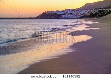 Sunset on the sea in Morro Jable Fuerteventura Spain.