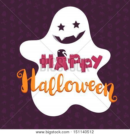 Happy Halloween Lettering with ghost. Holiday concept for print fabric greeting card banner t-shirt. Vector