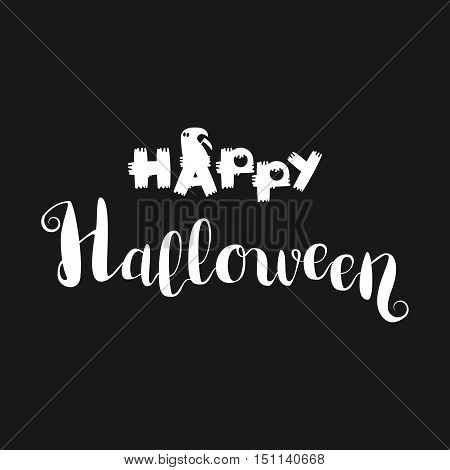 Happy Halloween Lettering. Trick or treat concept for print fabric greeting card banner t-shirt. Poster with halloween text. Vector