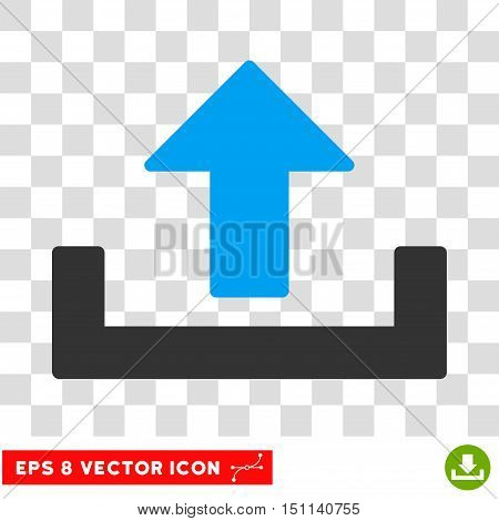 Vector Upload EPS vector icon. Illustration style is flat iconic bicolor blue and gray symbol on a transparent background.