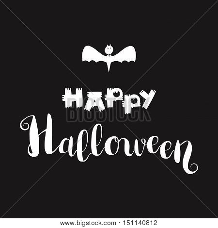 Happy Halloween Lettering with bat. Holiday concept for print fabric greeting card banner t-shirt. Vector