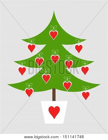 Cute simple decorated Christmas tree. Vector illustration