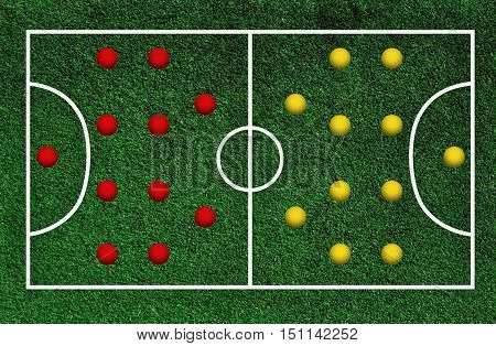 Green football pitch with lines yellow and red team