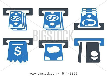 ATM Cashpoint glyph icons. Icon style is bicolor smooth blue flat symbols with rounded angles on a white background.