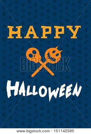 Happy Halloween Lettering with skull vampire. Trick or treat concept for print fabric greeting card banner t-shirt. Poster with halloween text. Vector