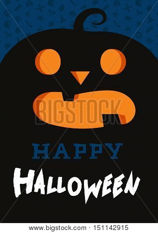 Happy Halloween Lettering with pumpkin. Trick or treat concept for print fabric greeting card banner t-shirt. Poster with halloween text. Vector