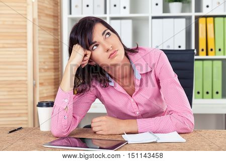 Bored Secretary In Pink Shirt