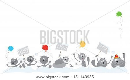vector group of cheerful cats celebrating winter holidays / happy new year together