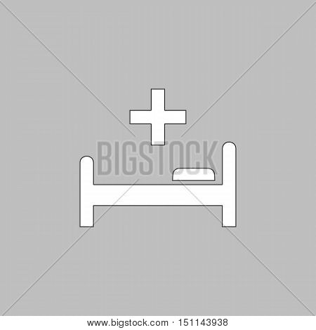 Hospital bed Simple line vector button. Thin line illustration icon. White outline symbol on grey background