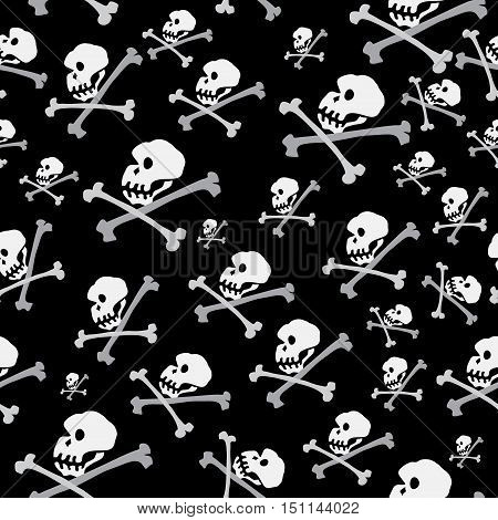 Vector seamless pattern with many skulls and crossbones on a black background / concept pirate wallpaper