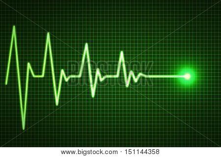 Heart beat line end of life illustration