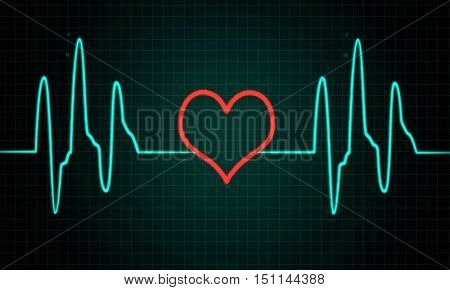 Cardiogram, pulse line with heart shape, ecg sign