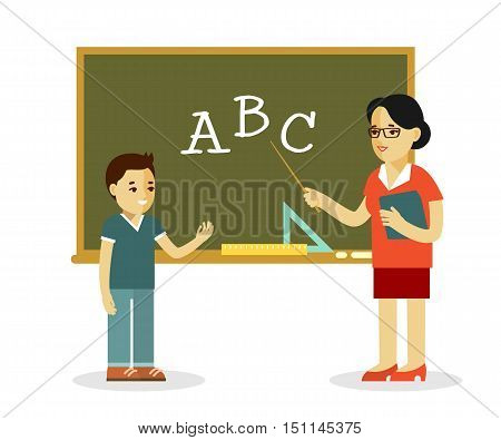 Young teacher woman and pupil standing in classroom in class lesson, isolated on white background