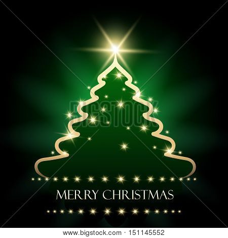 Golden and glossy Christmas pine tree on green background and wording Merry Christmas. Vector illustration.