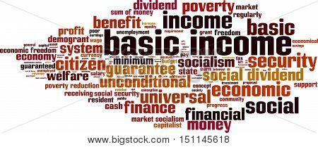 Basic income word cloud concept. Vector illustration