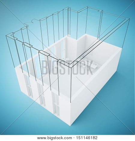 Unfinished construction plan on light blue background. Engineering concept. 3D Rendering