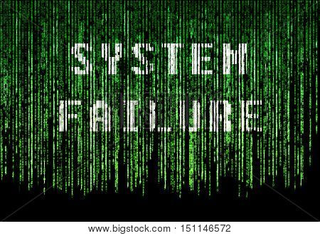Green matrix background with system failure text