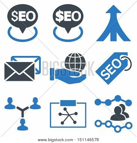 Seo glyph icons. Icon style is bicolor smooth blue flat symbols with rounded angles on a white background.