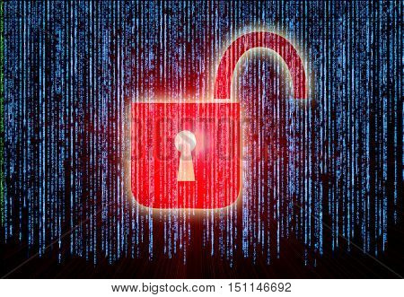 Symbol of internet security with binary character and padlock