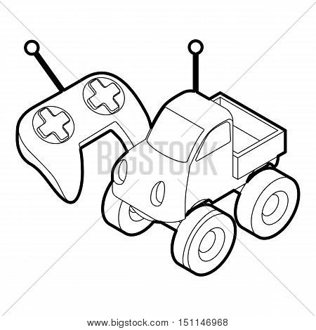 Control remote car toy. Outline illustration of control remote car toy vector icon for web