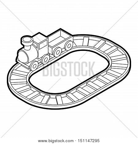 Toy train icon. Outline illustration of toy train vector icon for web