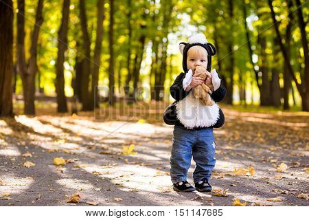 Cute baby boy dressed in costume skunk in autumn park
