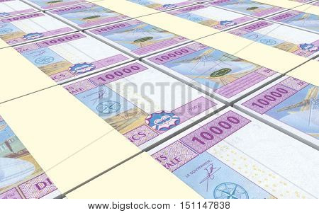 Central African CFA francs bills stacked background. 3D illustration.