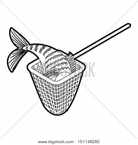 Fishing net icon. Outline illustration of vector icon for web