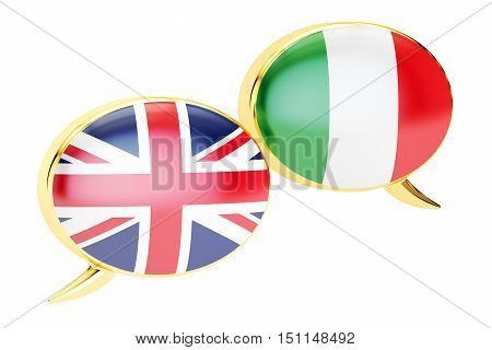 English-Italian translation concept 3D rendering isolated on white background