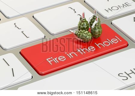 Fire in the hole concept on the computer keyboard. 3D rendering