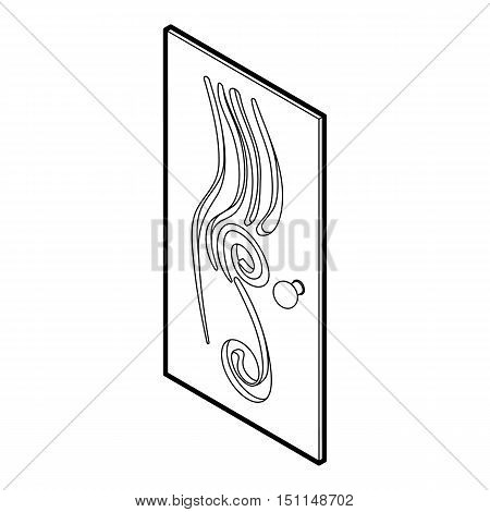Decorated door icon. Outline illustration of door vector icon for web