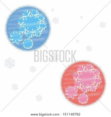 Winter greeting card with snowflake and circle dots shape. New Year, Christmas abstract background.