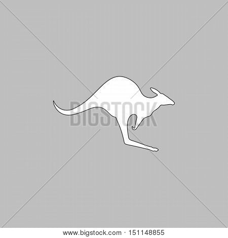 Kangaroo Simple line vector button. Thin line illustration icon. White outline symbol on grey background