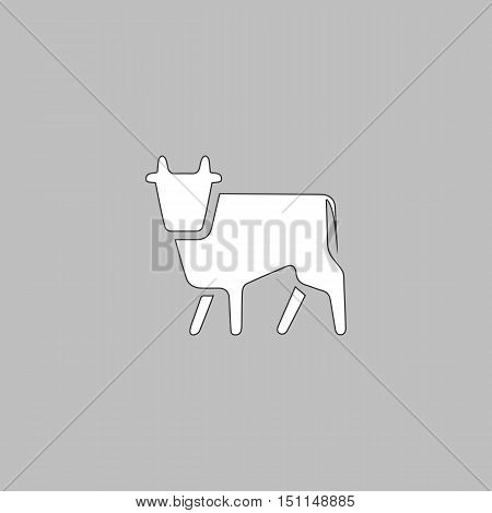 Cow Simple line vector button. Thin line illustration icon. White outline symbol on grey background