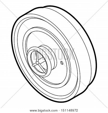 Iron ship door with lock wheel icon. Outline illustration of ship door vector icon for web