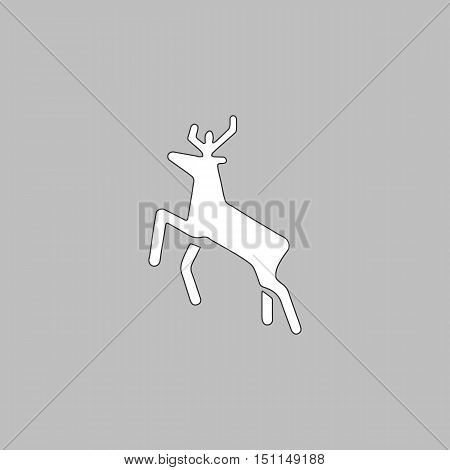 Deer Simple line vector button. Thin line illustration icon. White outline symbol on grey background