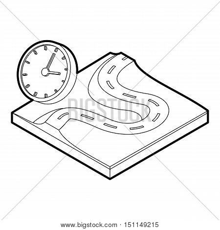 Road and clock icon. Outline illustration of road and clock vector icon for web