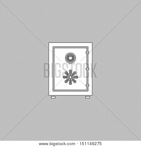 Safe Simple line vector button. Thin line illustration icon. White outline symbol on grey background