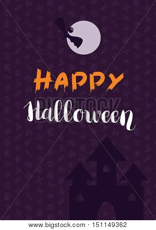 Happy Halloween Lettering with bat castle. Trick or treat concept for print fabric greeting card banner t-shirt. Poster with halloween text. Vector