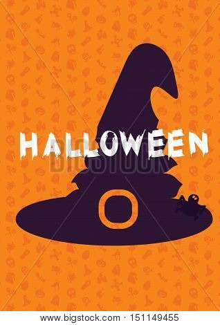 Happy Halloween Lettering with hat spider. Trick or treat concept for print fabric greeting card banner t-shirt. Poster with halloween text. Vector
