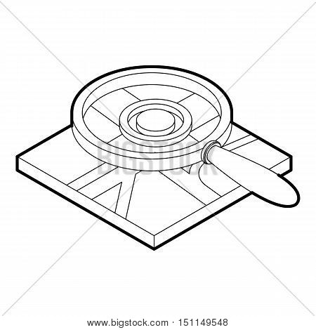 Magnifying glass over map icon. Outline illustration of agnifying glass and map vector icon for web
