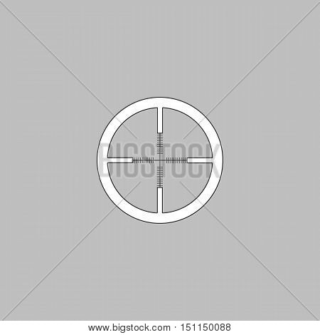 Crosshair Simple line vector button. Thin line illustration icon. White outline symbol on grey background
