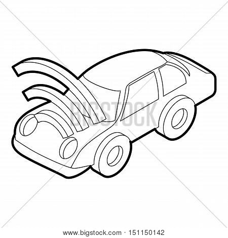 Car with wifi sign icon. Outline illustration of car with wifi sign vector icon for web