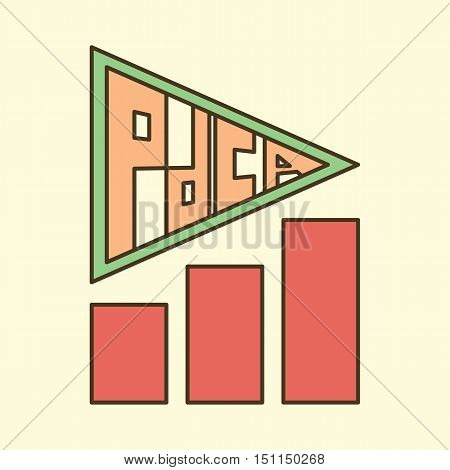 letters pdca as arrow and growing chart business quality tool vector design
